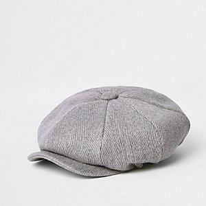 Casquette gavroche à chevrons gris clair