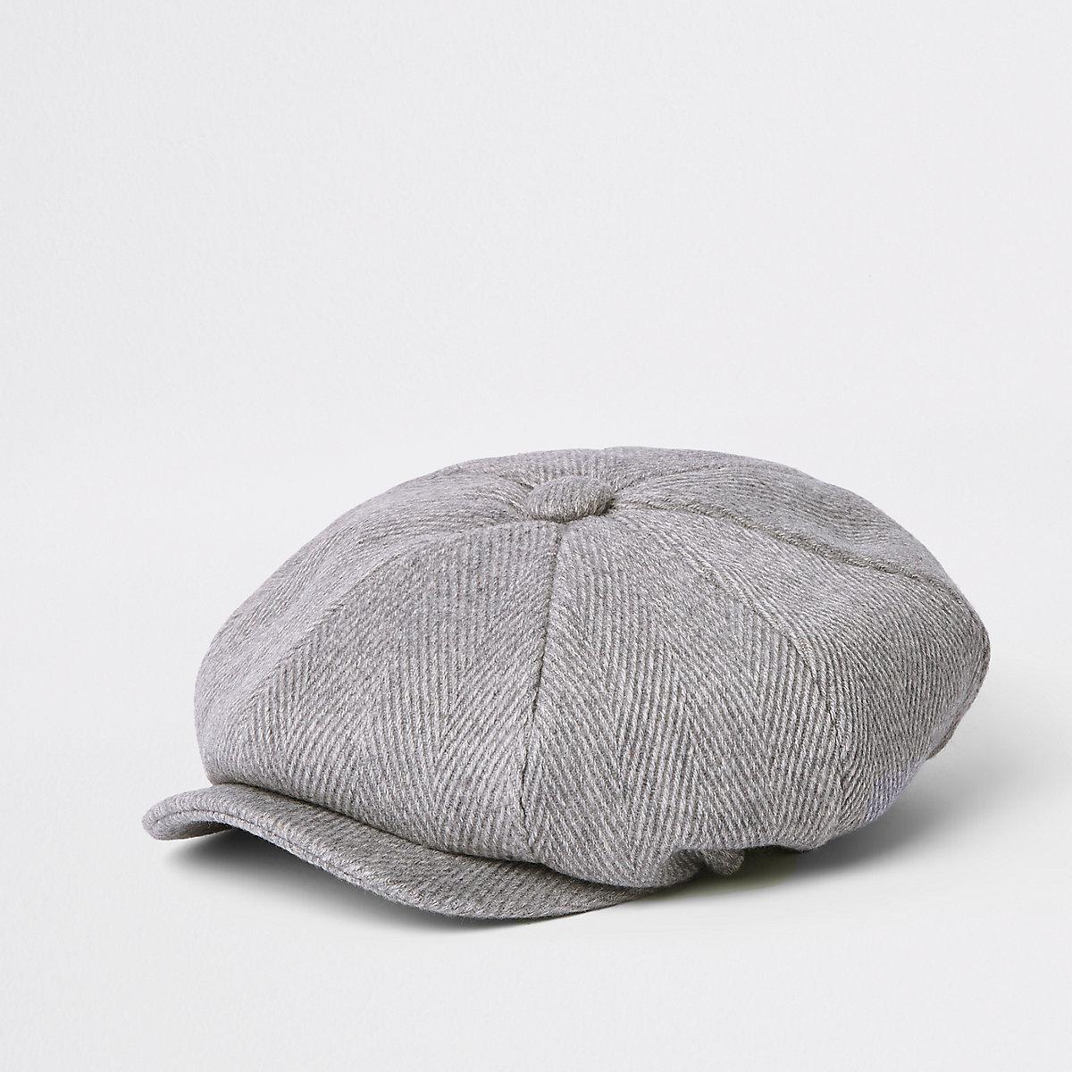Light grey herringbone baker boy hat - Hats   Caps - Accessories - men 82dfda67699
