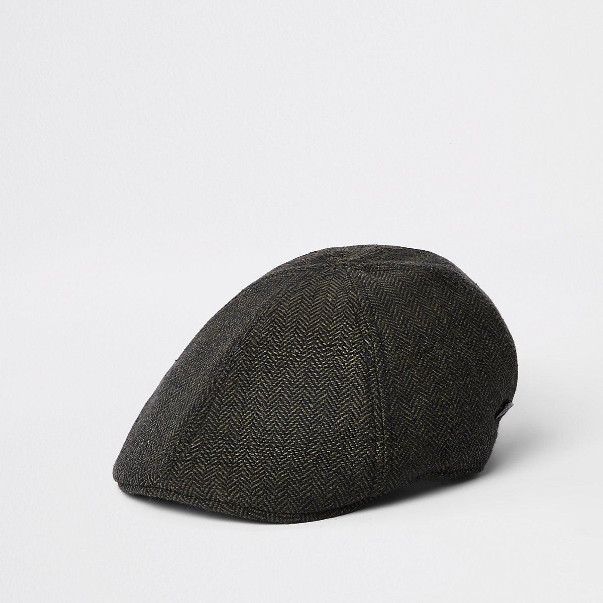 Khaki green herringbone flat cap