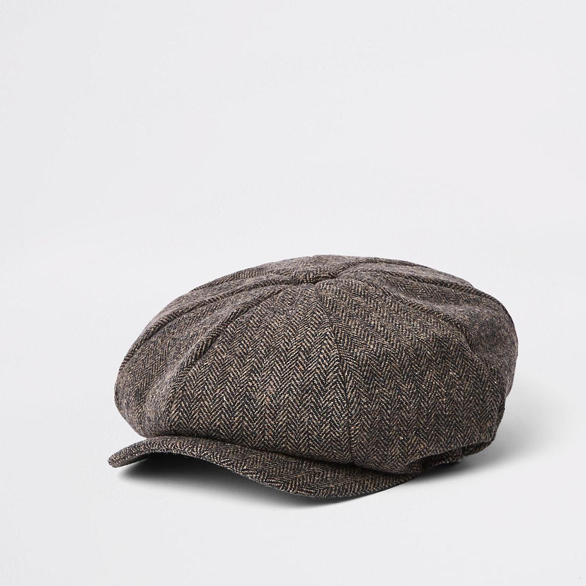 Brown herringbone baker boy cap