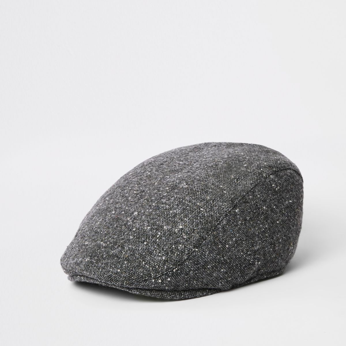 Grey quilted flat cap