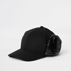 Black faux fur deerstalker cap