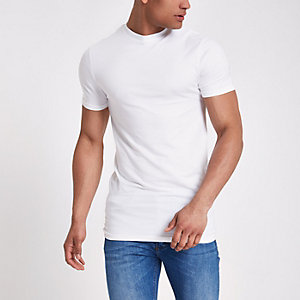 White muscle fit longline T-shirt