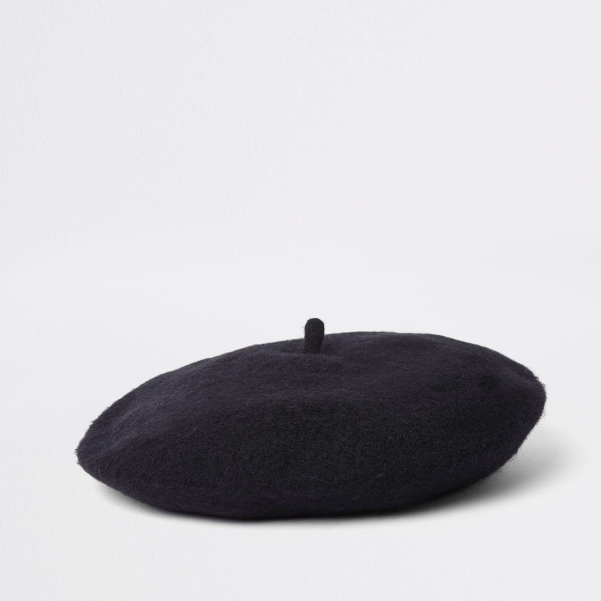 Black beret hat