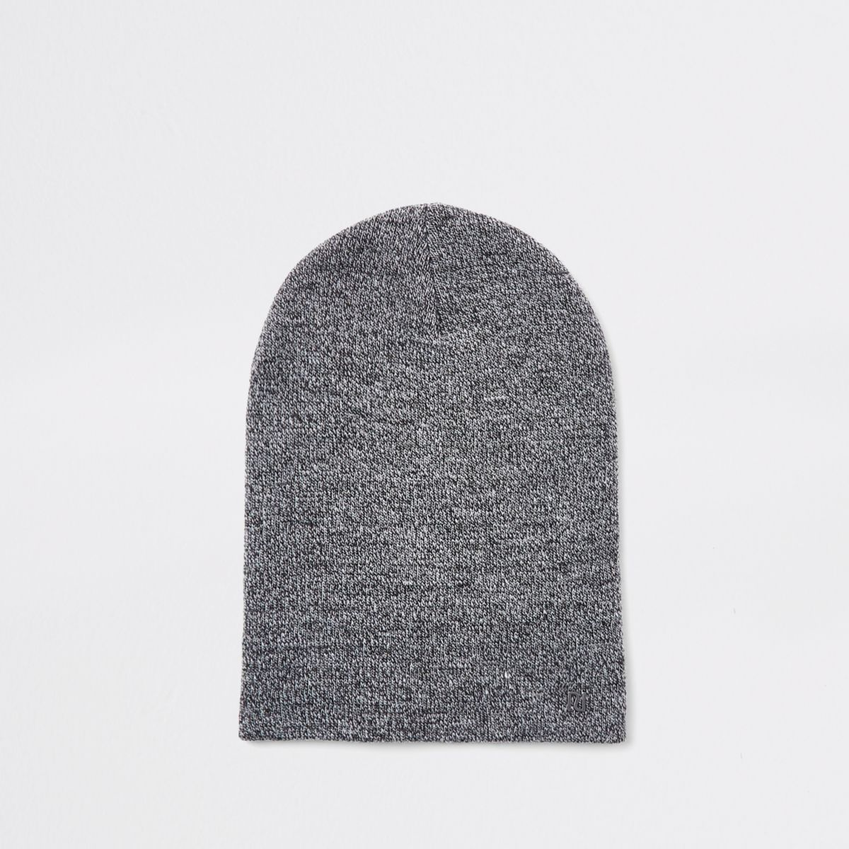 Light grey twist slouch beanie hat