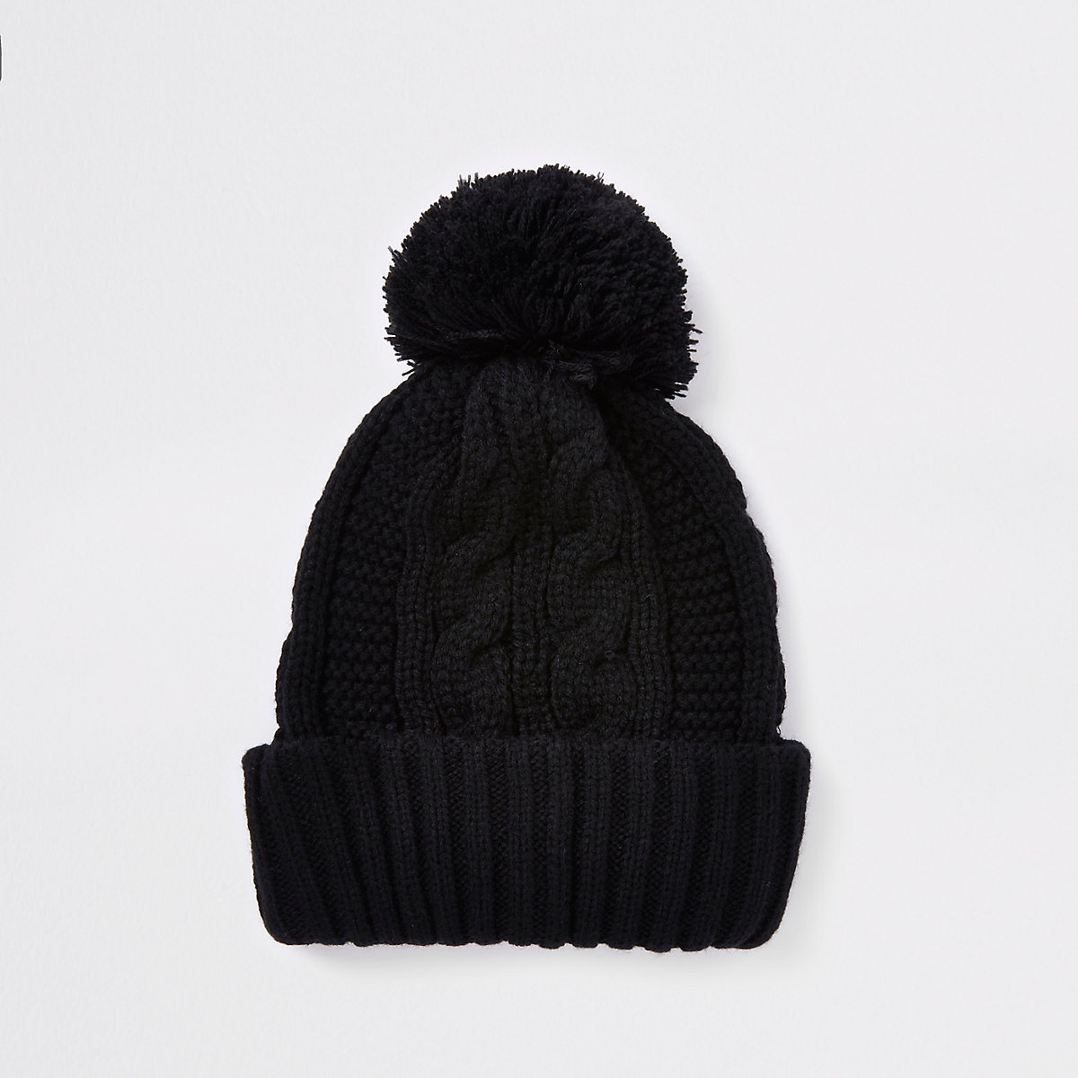 Black cable knit bobble beanie hat