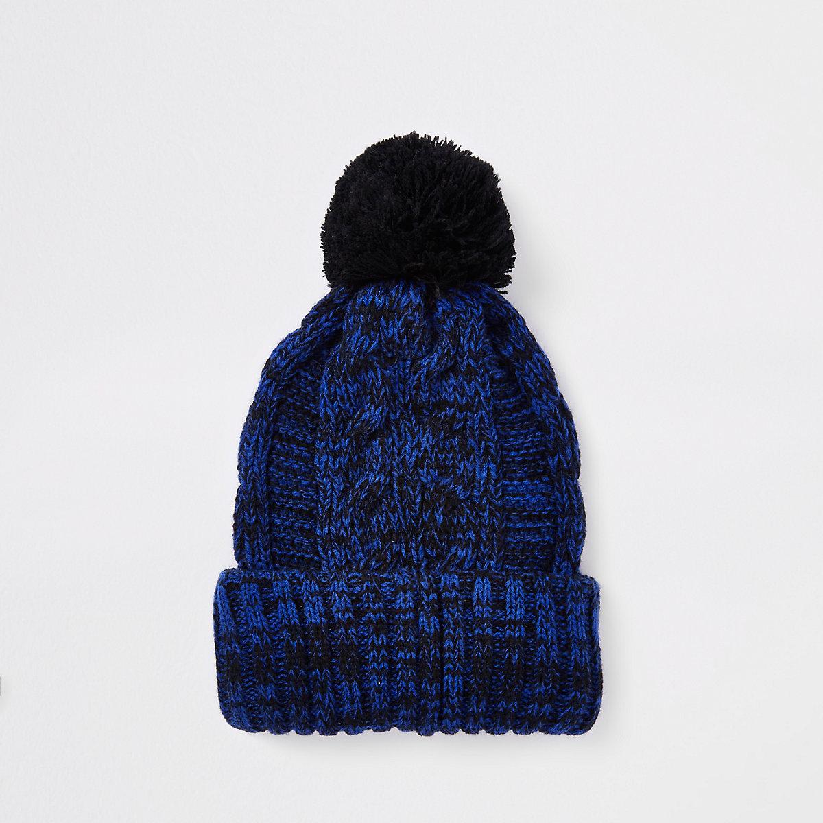 Navy cable knit bobble beanie hat - Hats   Caps - Accessories - men f400d37def9c