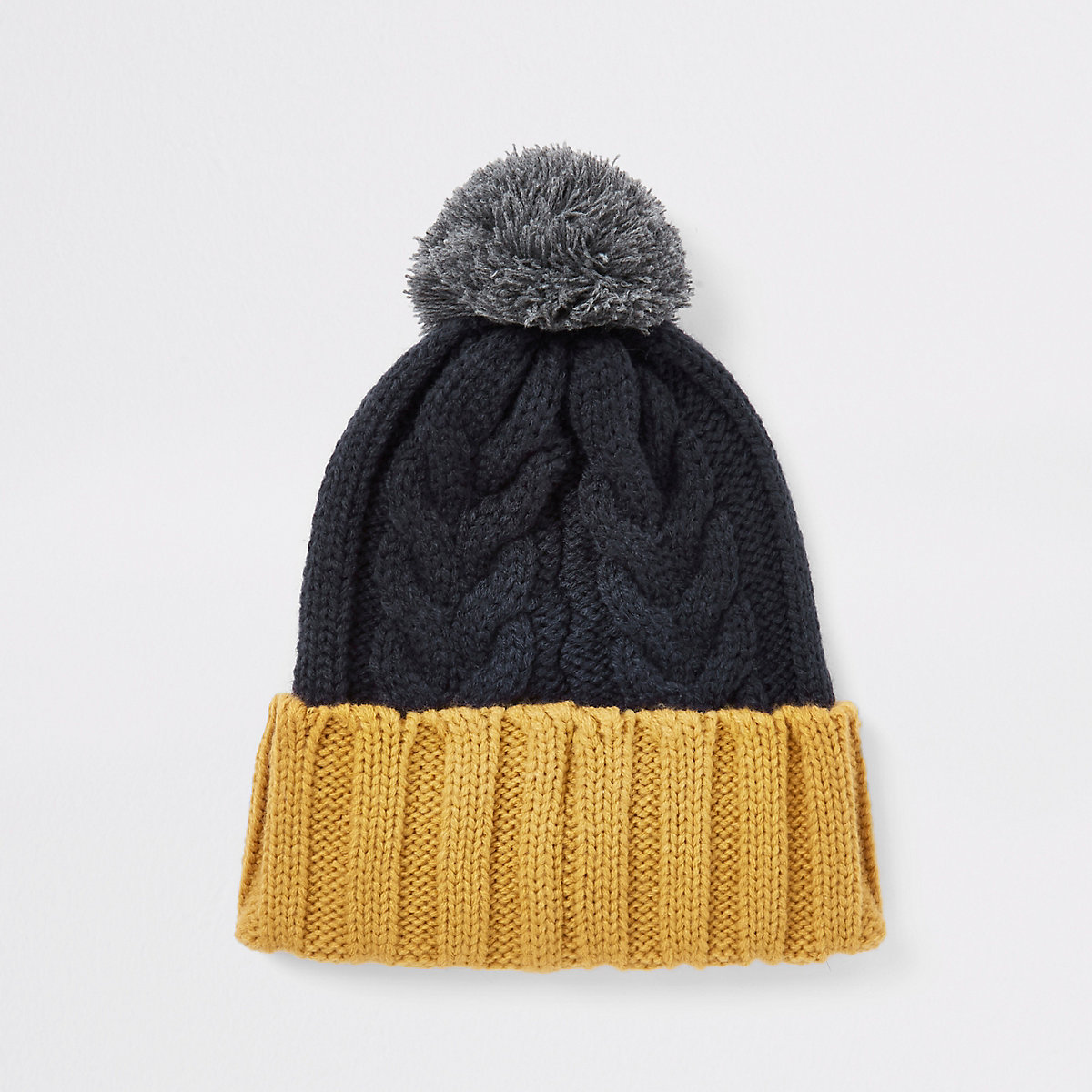 Navy block cable knit bobble beanie hat