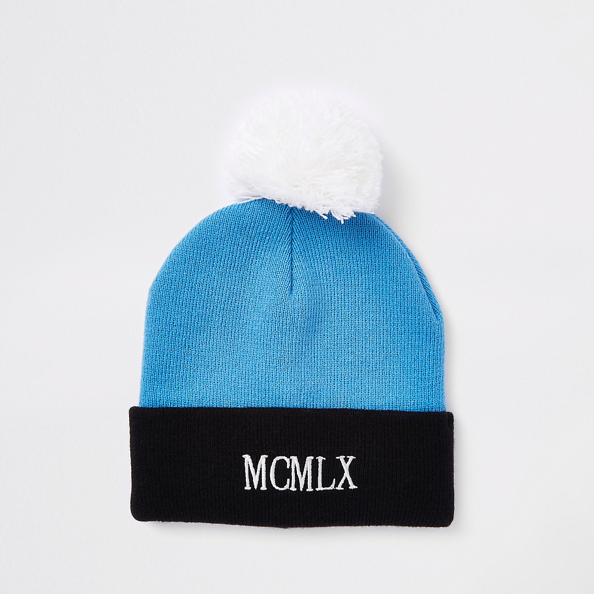 Blue embroidered bobble beanie hat