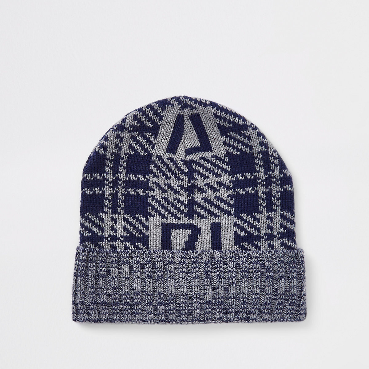Grey check RI branded beanie hat