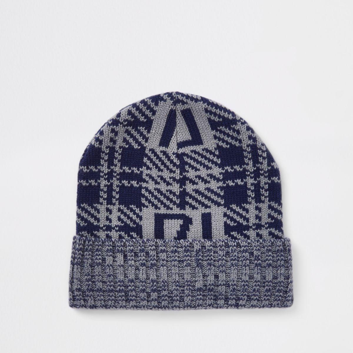 Grey check RI branded beanie hat