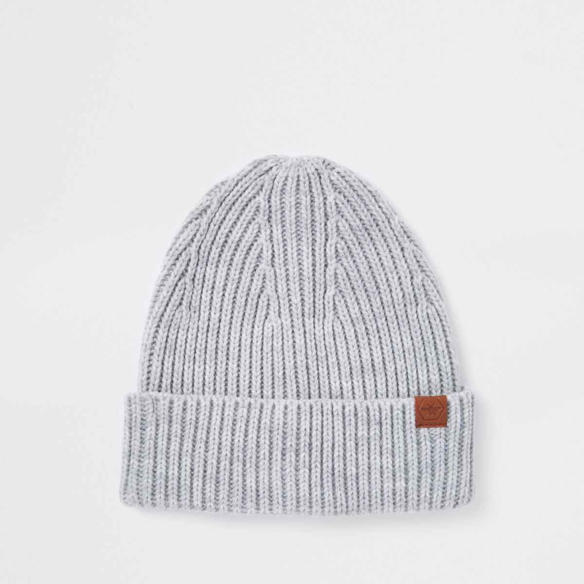 Grey fisherman beanie hat