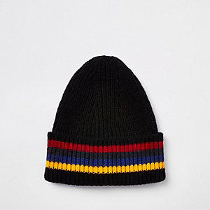 Black stripe fisherman knit beanie hat