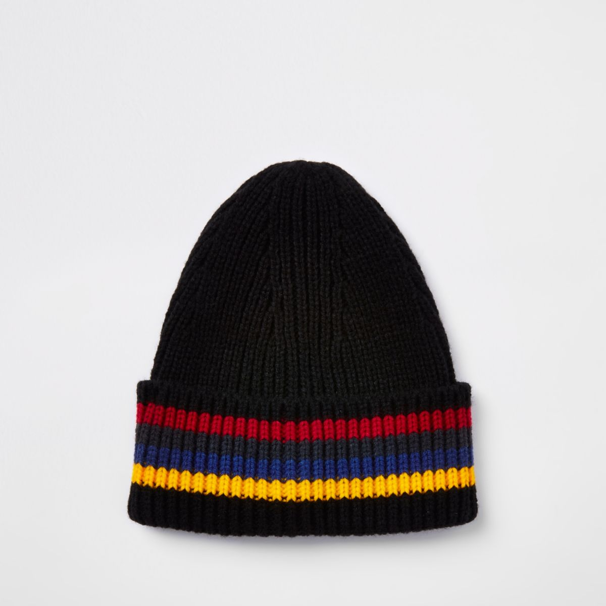 Black stripe fisherman knit beanie hat