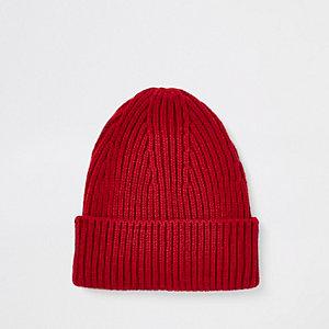Bonnet de pêcheur rouge en maille