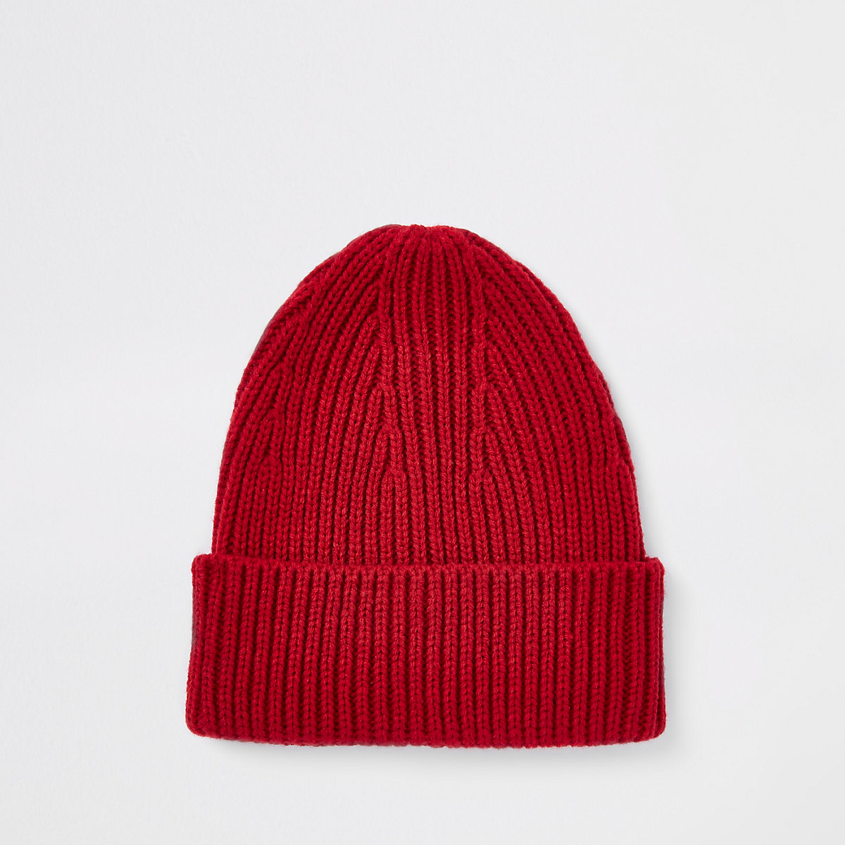 Red fisherman knit beanie hat