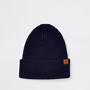Navy fisherman beanie hat