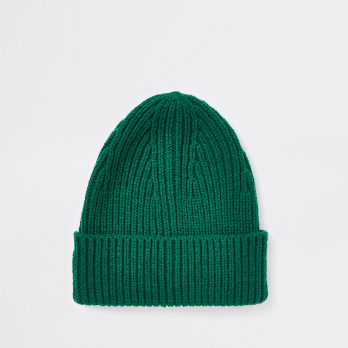 Green fisherman knit beanie hat