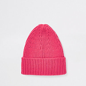 Pink fisherman knit beanie hat