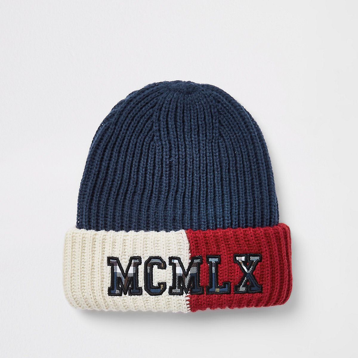 Navy colour block embroidered beanie hat