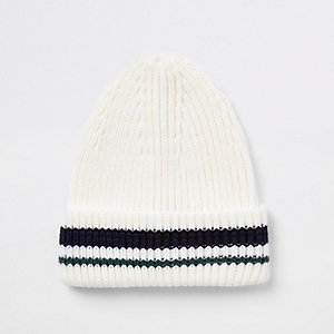 Cream stripe knit fisherman beanie hat