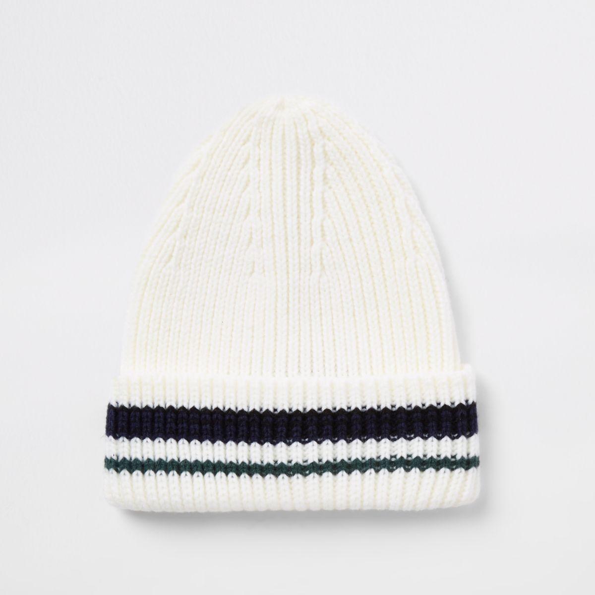Cream stripe knit fisherman beanie hat