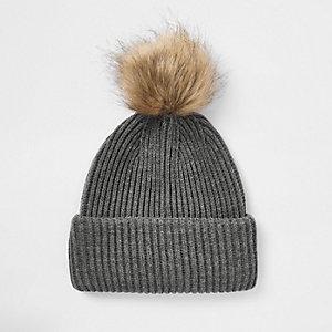 Grey faux fur pom pom beanie hat