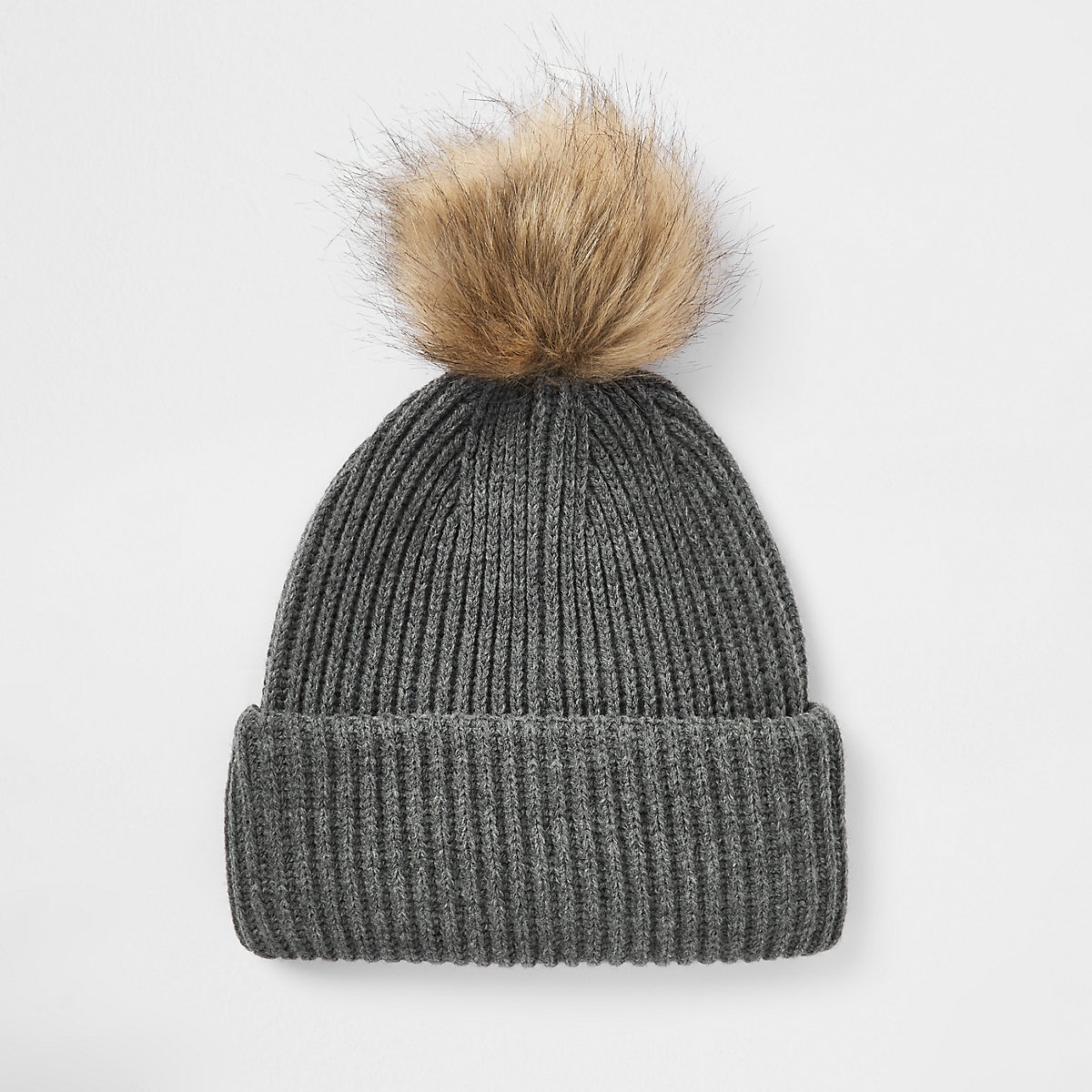 Grey faux fur pom pom beanie hat - Hats   Caps - Accessories - men 4d1b33f9bb8