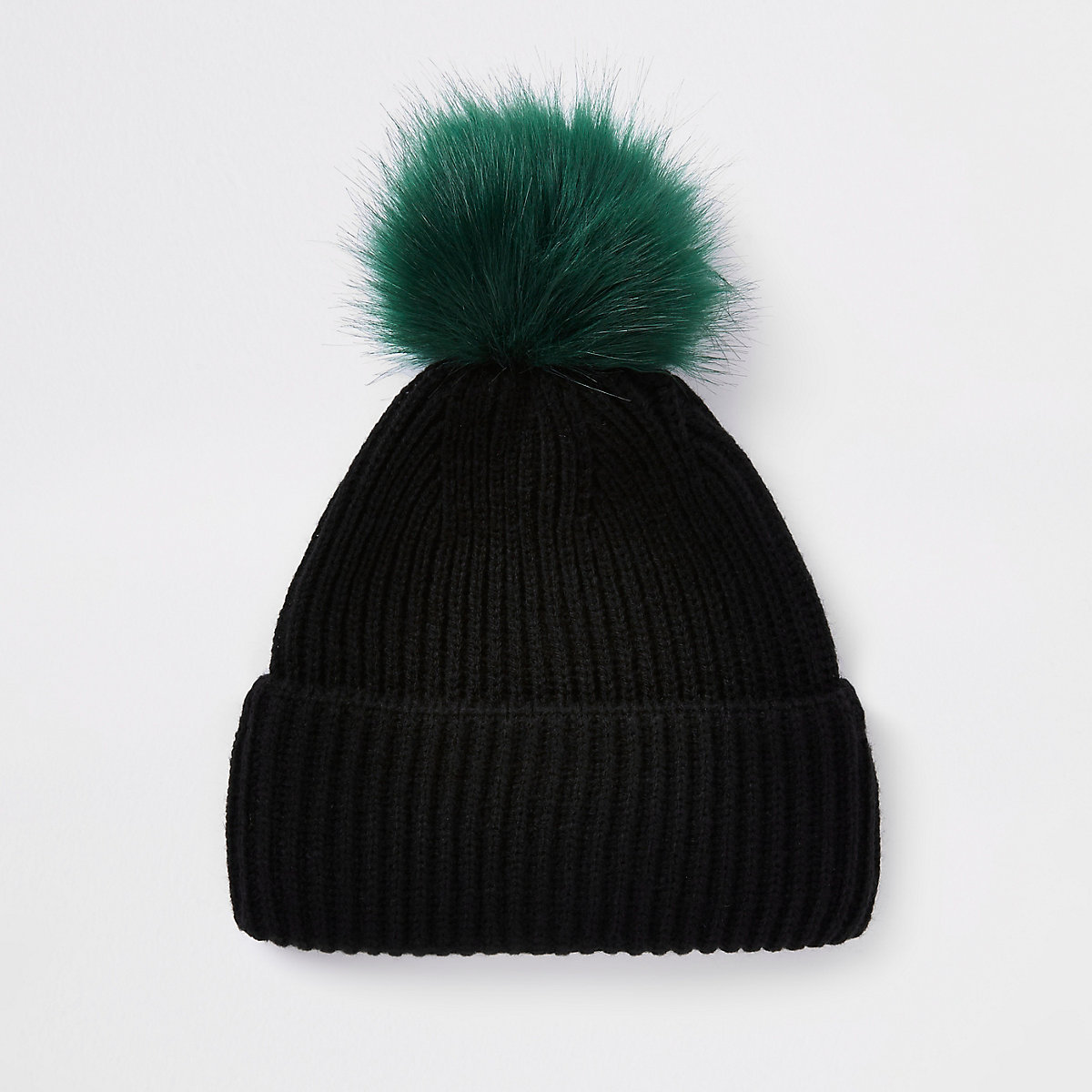 Black faux fur pom pom beanie hat - Hats   Caps - Accessories - men 3a8c7cf0b31