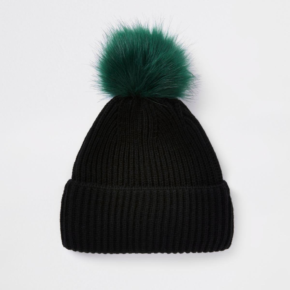 Black faux fur pom pom beanie hat