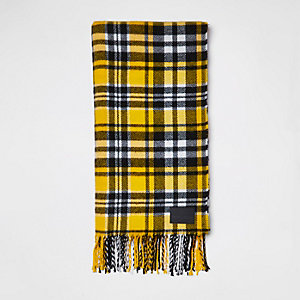 Yellow check print scarf