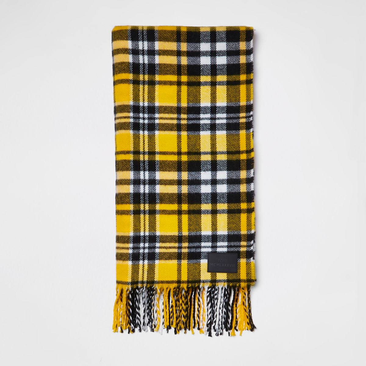 Yellow check print scarf