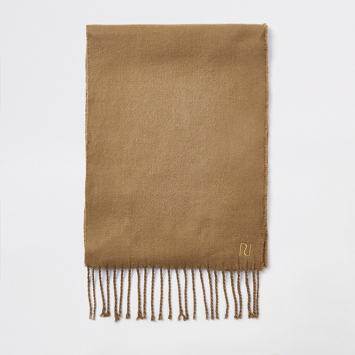 Brown woven embroidered scarf