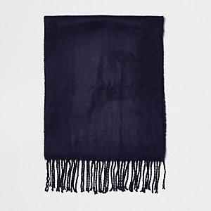 Écharpe tissée bleu marine brodée