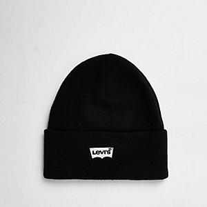Levi's black embroidered beanie hat
