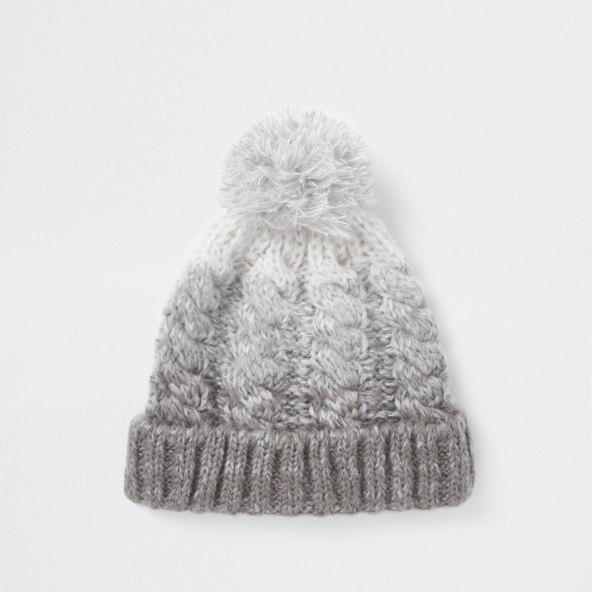 Grey ombre bobble beanie hat