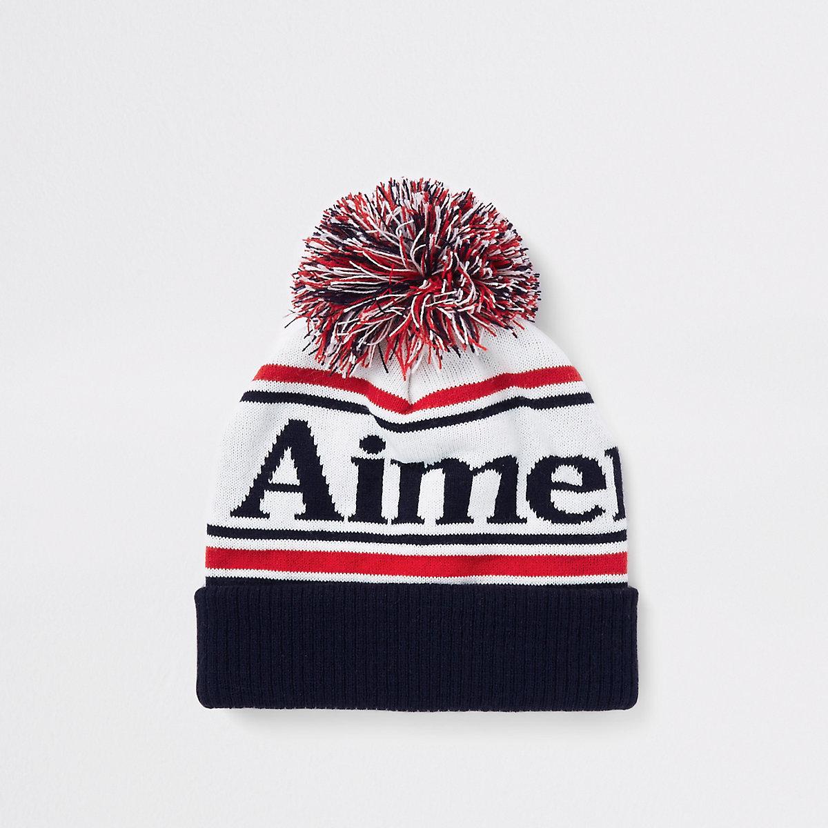 White 'aimer la vie' bobble beanie hat