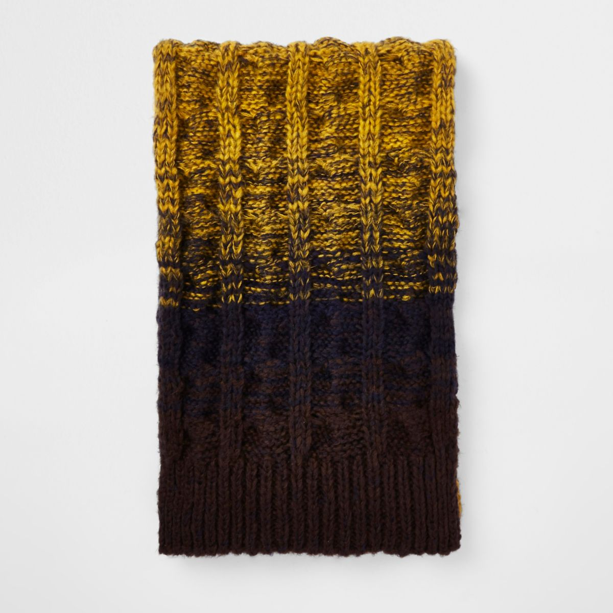 Yellow ombre knit scarf