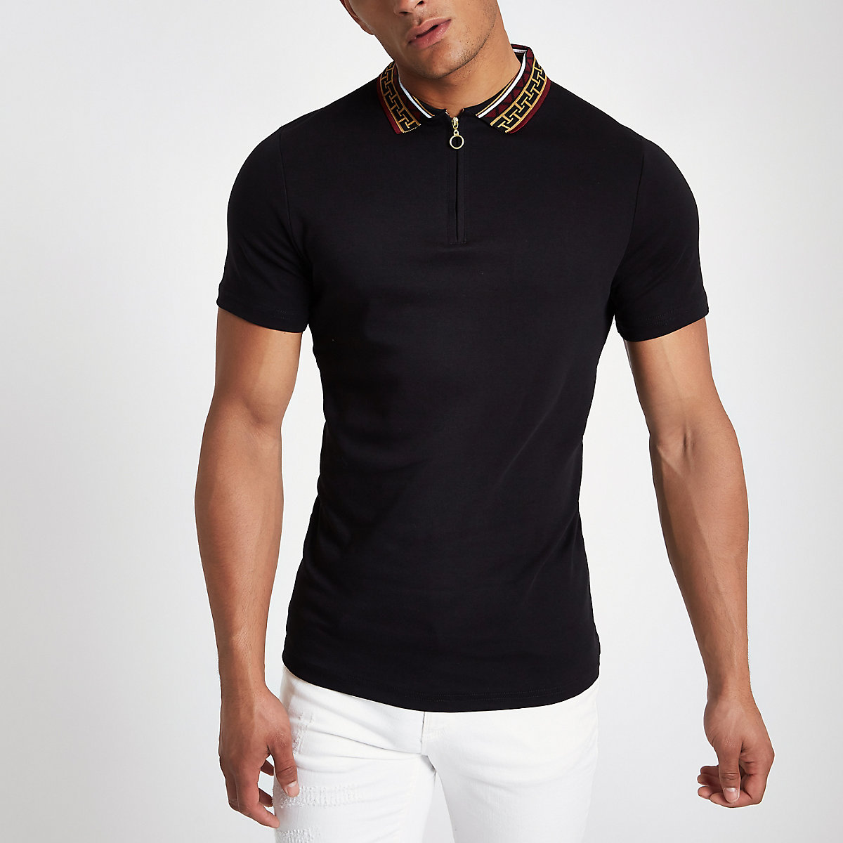 Black baroque collar muscle fit polo shirt