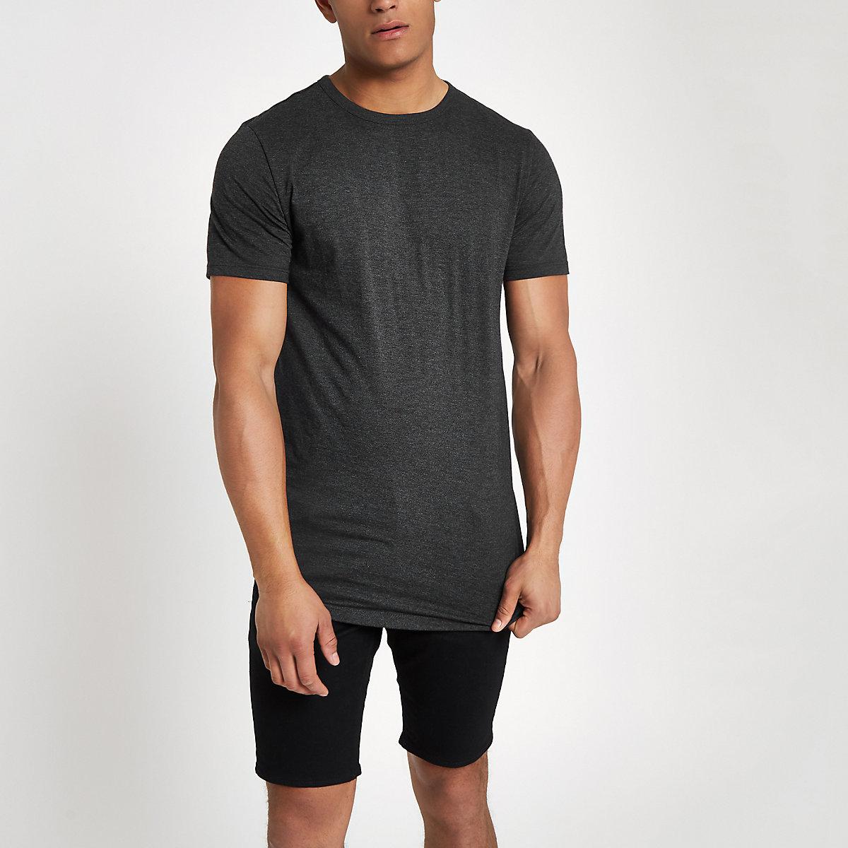 Grey longline curved hem T-shirt