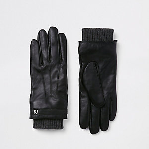 Black leather lined gloves