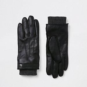 Zwarte leren gevoerde handschoenen