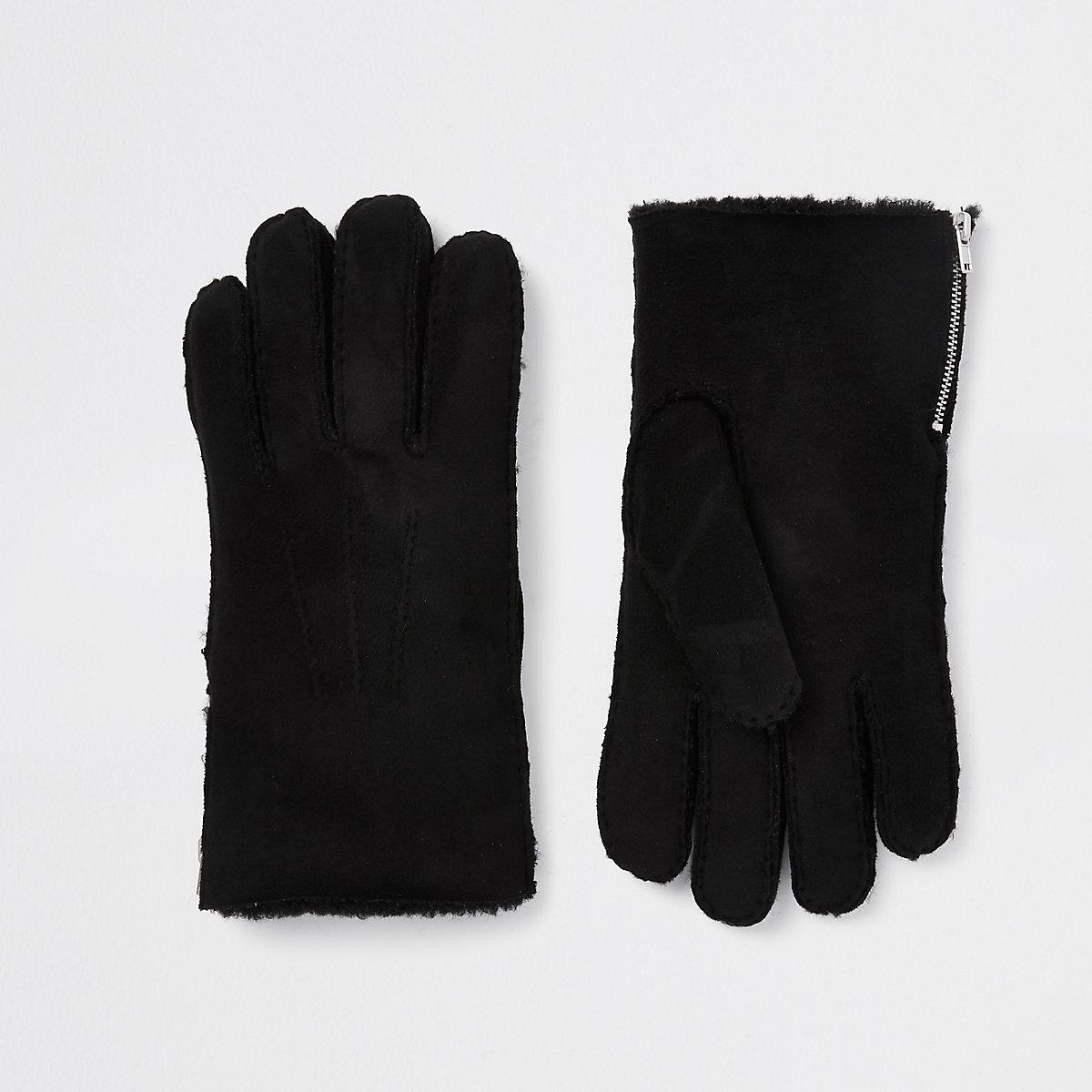 Black faux suede side zip gloves