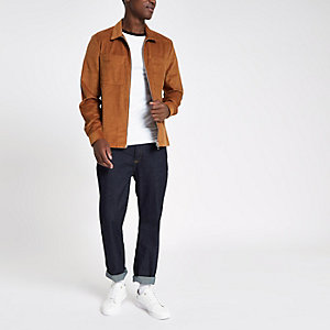 Veste chemise en denim marron zippée
