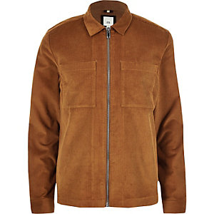 Big & Tall tan cord zip up overshirt