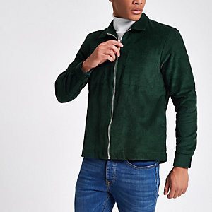 Green corduroy zip-up shacket
