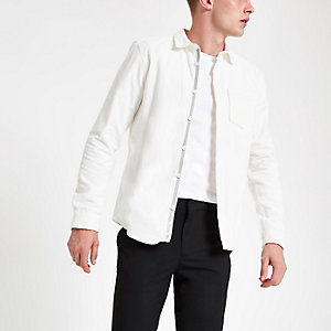 Wit corduroy overhemd met lange mouwen