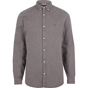 Chemise en denim grise à manches longues