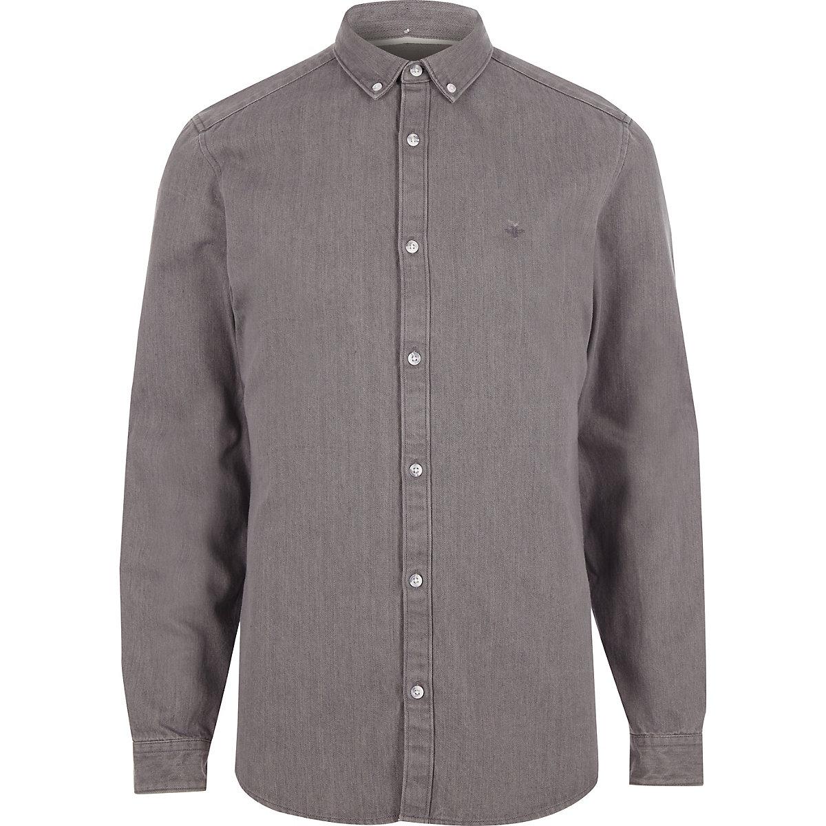 Grey long sleeve denim shirt