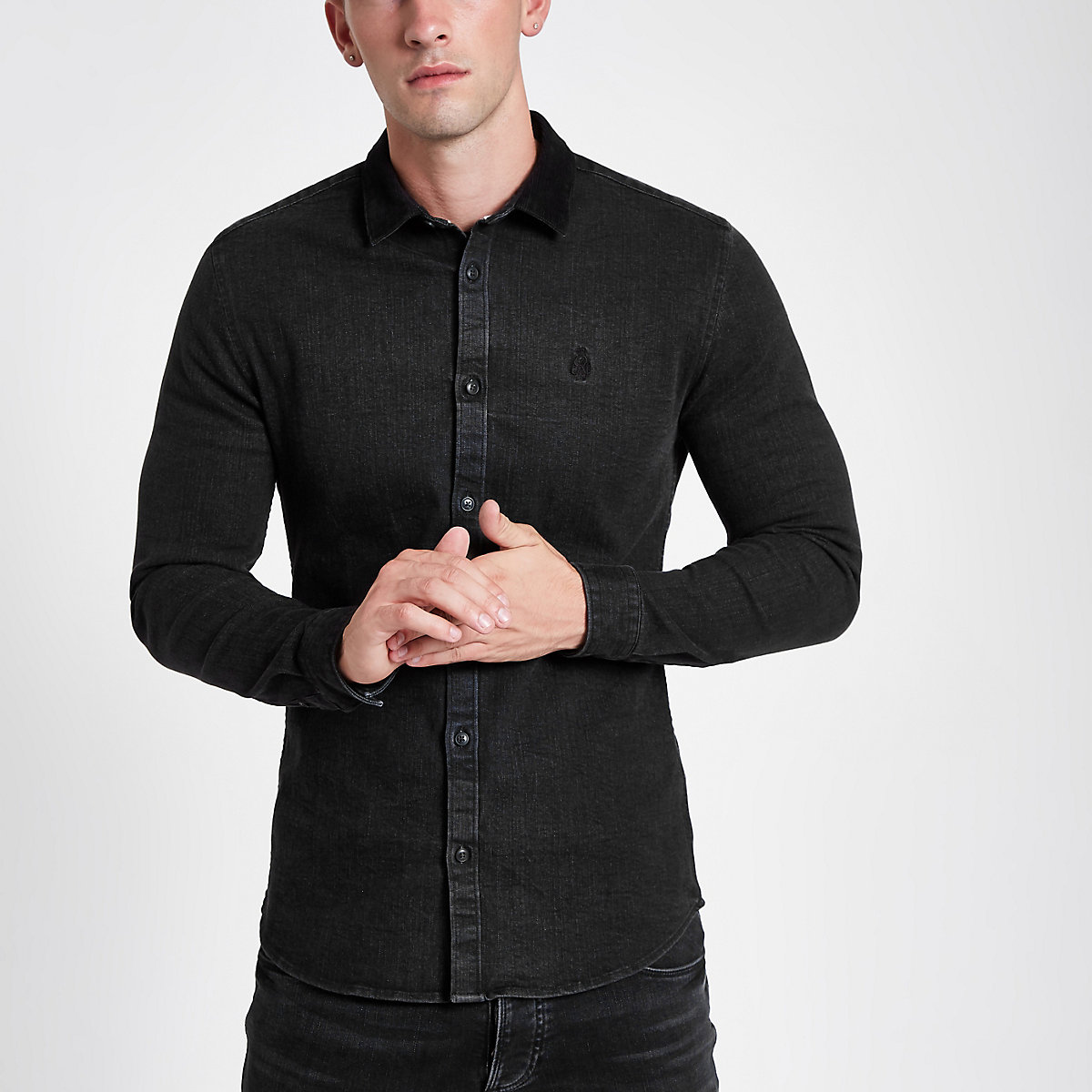 Black long sleeve button-down denim shirt